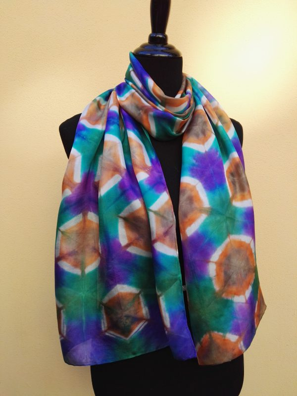 Itajime shibori hand dyed 100% silk scarf. Colorful accessory for modern outfit