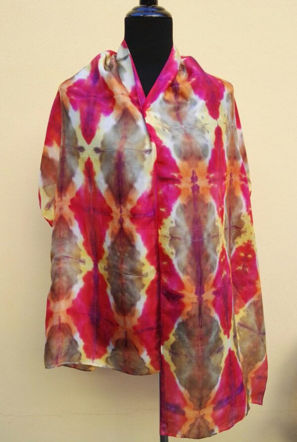 Harlequin shibori hand dyed 100% silk scarf. Colorful accessory for modern outfit