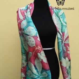 Red emerald green botanical print handdyed 100% silk scarf