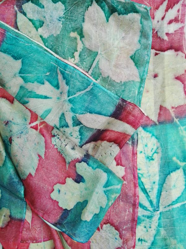 Mistical forest. Handdyed red and emerald green silk scarf with mix of plants imprinted. Original accessory. Best gift for women