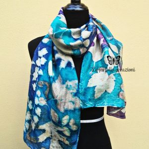 Blue turquoise violet 100% hand dyed silk scarf with impressed real leaves. Botanical print. Best gift fo women. Original accessory.