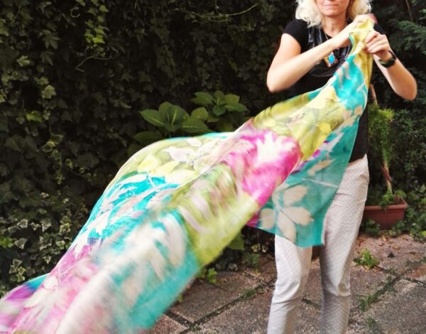 Botanical print 100% silk scarf with imprinted real leaves. Original gift accessory for women.