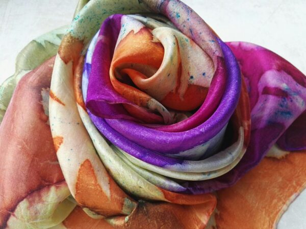Botanical print 100% silk scarf with imprinted real leaves. Original accessory with a touch of nature