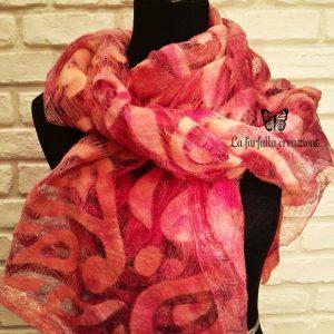 Orange paisley wet felted margilan silk and merino wool scarf. Original accessory