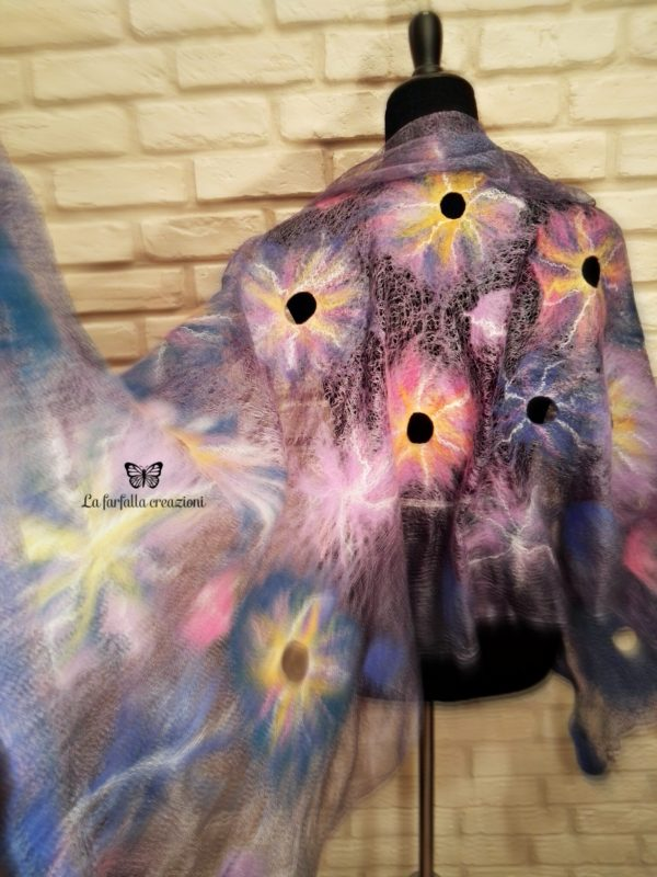 Lilac flowers wet felted margilan silk and merino wool scarf. Original accessory