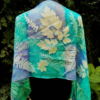 Mistical wood. Handdyed blue and emerald green silk scarf with ferns and plats imprinted. Original accessory. Best gift for women.