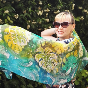 Monstera. Green tropical plant 100% silk hand painted long scarf. Best gift for women.