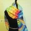 Om. Rainbow mandala 100% silk hand painted long scarf. Original gift.