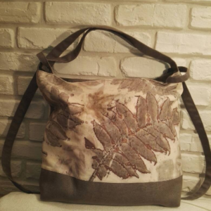 Big transformer bag/backpack with botanical print real leaves imprinted on cotton. Ecoprint and natural dyeing.