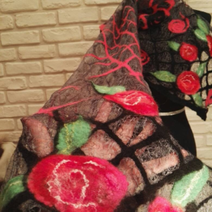 Carmen. Wetfelted rarefied margilan silk and merino wool scarf stole wrap. Elegant accessory. Best gift for women