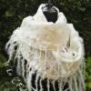 White cobweb wet felted merino wool, eri silk, viscose fibers and wensleydale locks scarf. Original accessory for special occasions