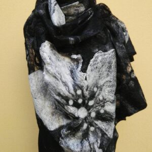 Big white flower nunofelted silk gauze and merino wool scarf stole shawl.