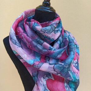 Bubbles and hearts 100% hand painted unique silk scarf. Original colorful accessory to combine modern outfit