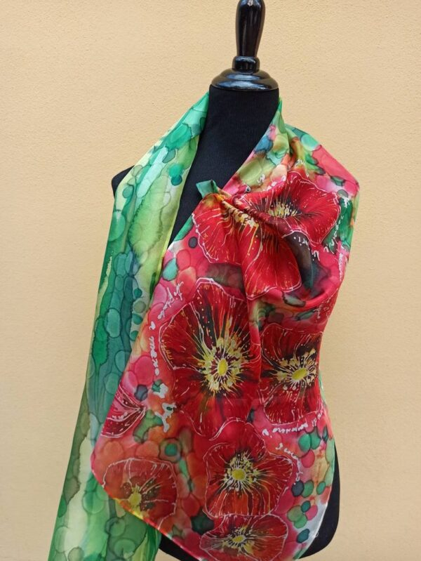 Red poppies summer hand painted 100% silk scarf. Colorful accessory to create your modern outfit.