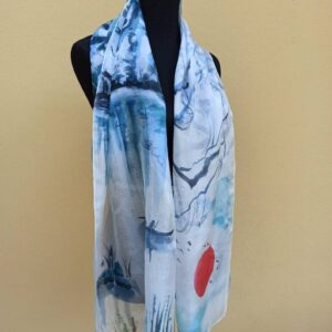 Japanese painting style 100% silk scarf. Delicate painting sumi-e on lightweight silk. Beautiful accessory to formal and informal outfit.