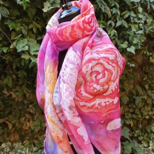 Frosted roses hand painted 100% silk scarf. Original accessory to add colororful accent to women's outfit.