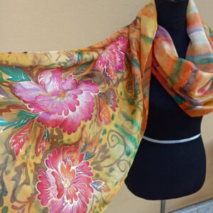 Japanese style big peony 100% silk hand painted scarf. Original accessory to combine any outfit.