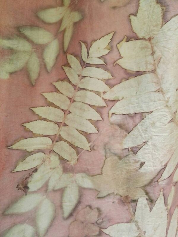 Pink madder Eco Printed and Natural dyed 100% silk scarf with impressed real leaves. Original accessory for women.