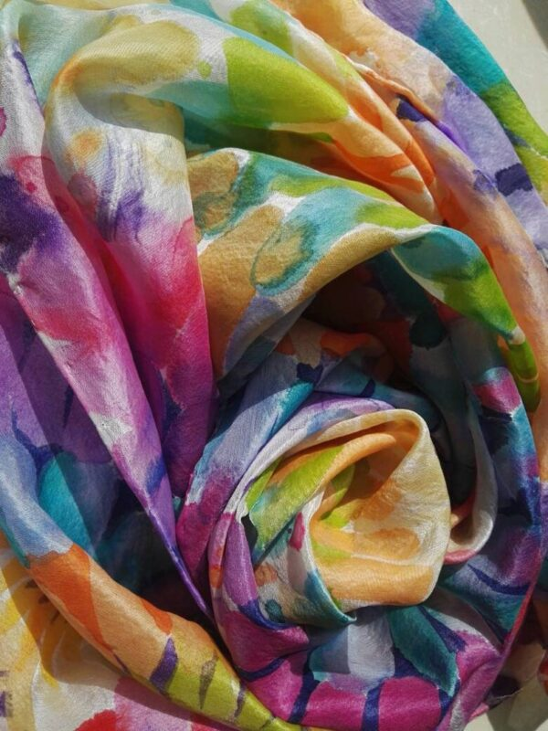 Bright flowers. Hand painted silk scarf. Original one of a kind foulard with authentic author's painting.