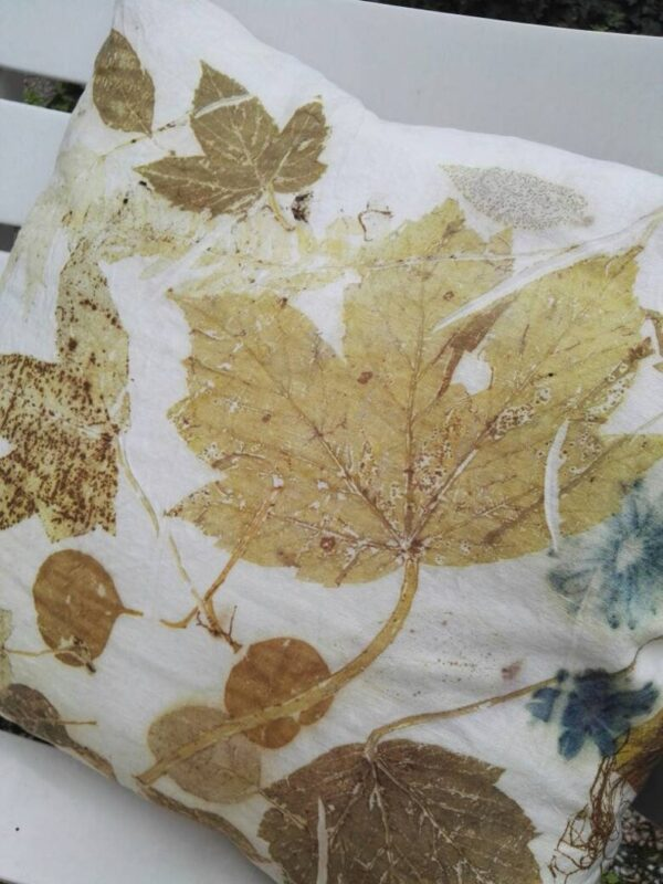 A couple of handmade linen pillowcase with leaves and flowers. Ecoprint o botanical print technique and natural dyeing. Best idea for gift.