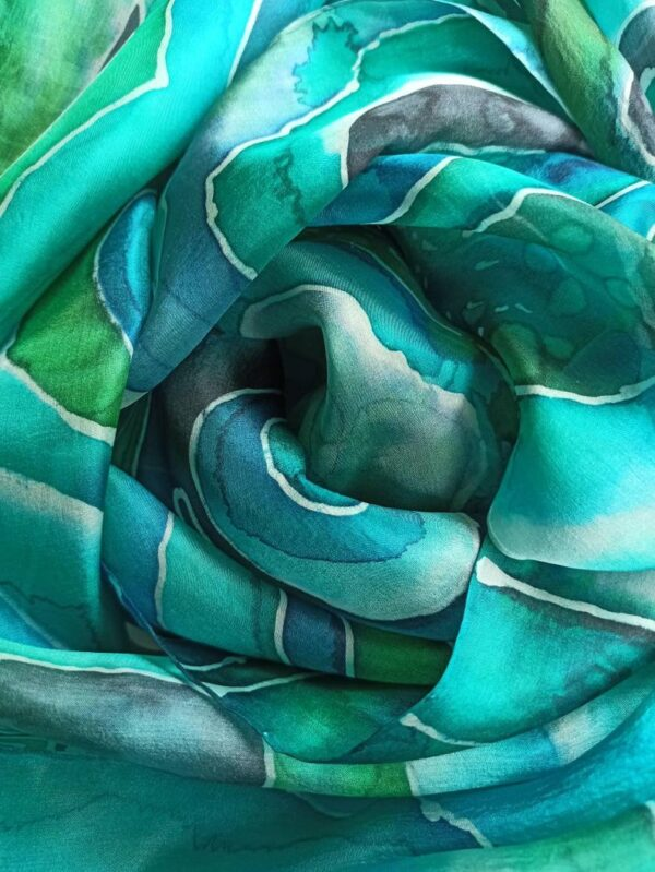Malachite hand painted 100% silk scarf inspired by the nature. Original colorful accessory. Best gift.