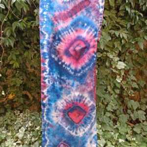 Classic blue and purple hibori tie dye hand dyed long silk scarf. Original authentic accessory to combine modern outfit. Colorful accent.