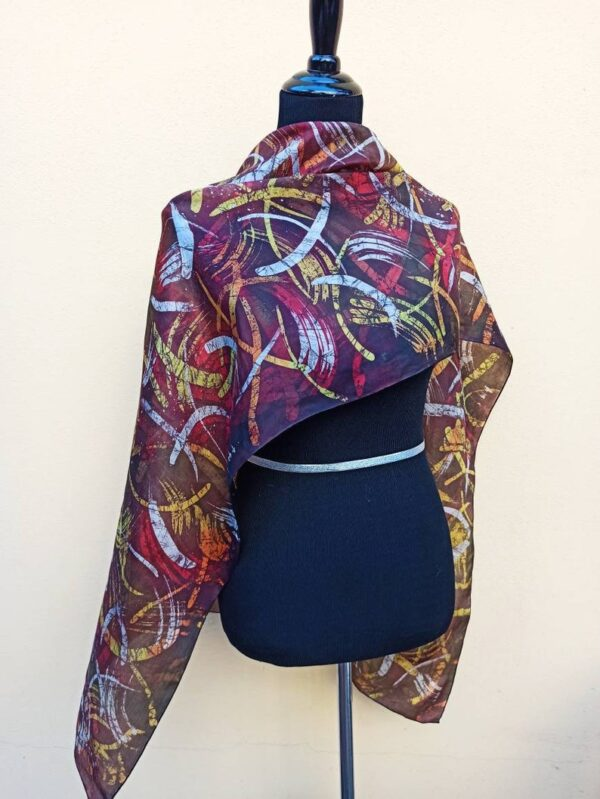 Energy movements hand painted 100% silk scarf. Original colorful accessory. Best gift for her