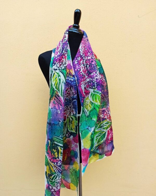 The smell of lilac hand painted batik 100% silk scarf. Original colorful accessory to create authentic accent to your outfit.