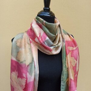 Pink and green hand dyed 100% silk scarf with imprinted plants. Original colorful accessory to complete any outfit.