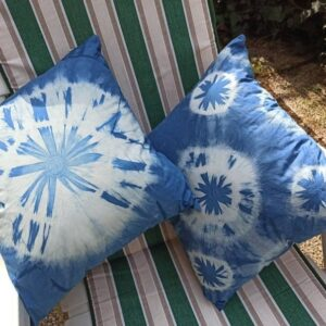 A couple of pillowcases hand dyed with natural indigo dyeing. Colorful accent for your bed or sofa. Original gift.