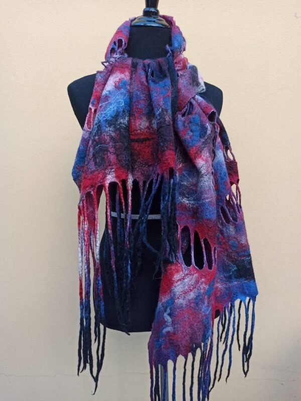 Red and Blue holes big wetfelted scarf stole shawl. Hand dyed margilan silk and Merino wool. Original accessory to add colorful accent.