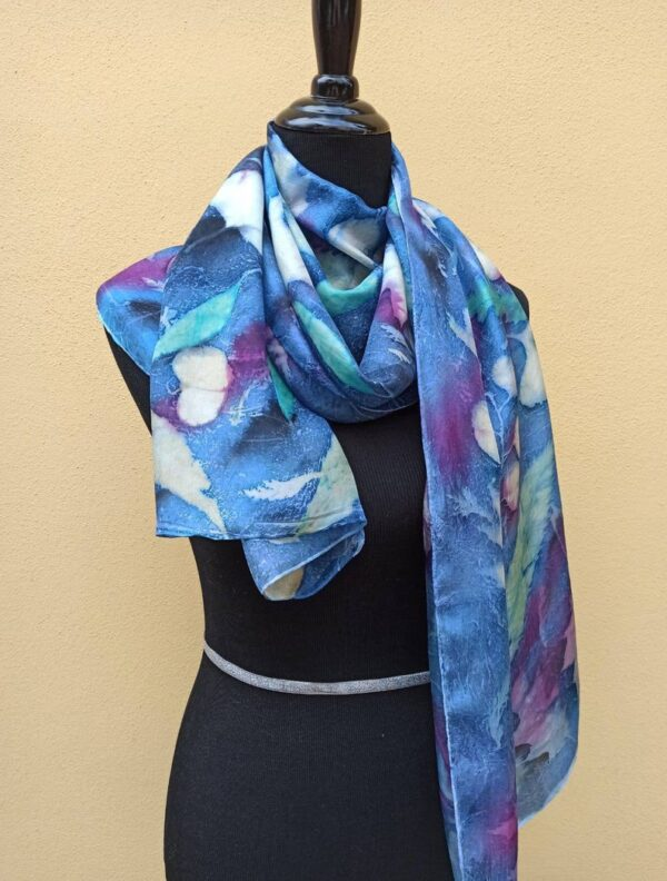 Botanical print 100% silk scarf with real leaves imprinted on. Original gift accessory for women.