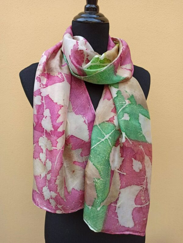 Red and green botanical print 100% silk scarf. Original accessory to combine any outfit. Best gift for women.