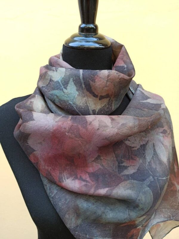 Purple rain. Botanical print 100% silk scarf. Hand dyed with natural dyes and imprinted with leaves. Delicate colours from nature for her.