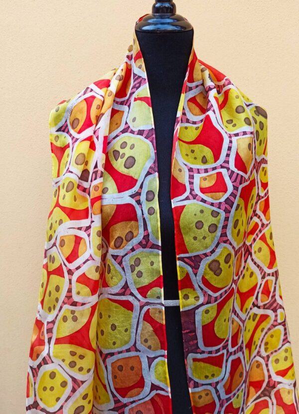 Red and yellow abstract batik hand painted 100% silk scarf. Original accessory to create colorful accent to your outfit. Best gift for her