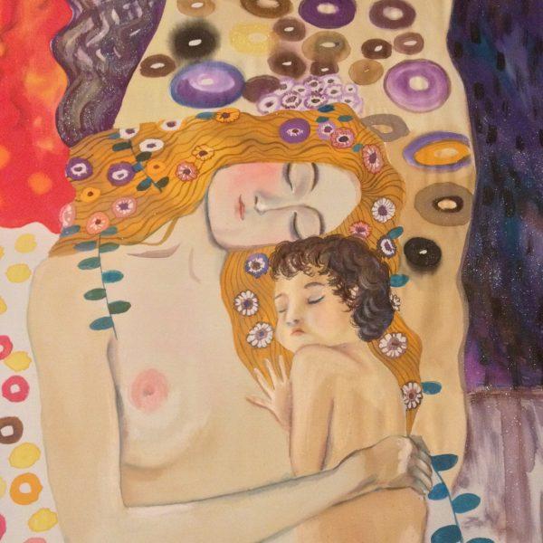 Maternity Gustav Klimt. Hand painted silk wall hanging
