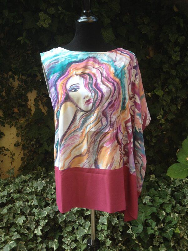 Lady hand painted 100% silk caftan