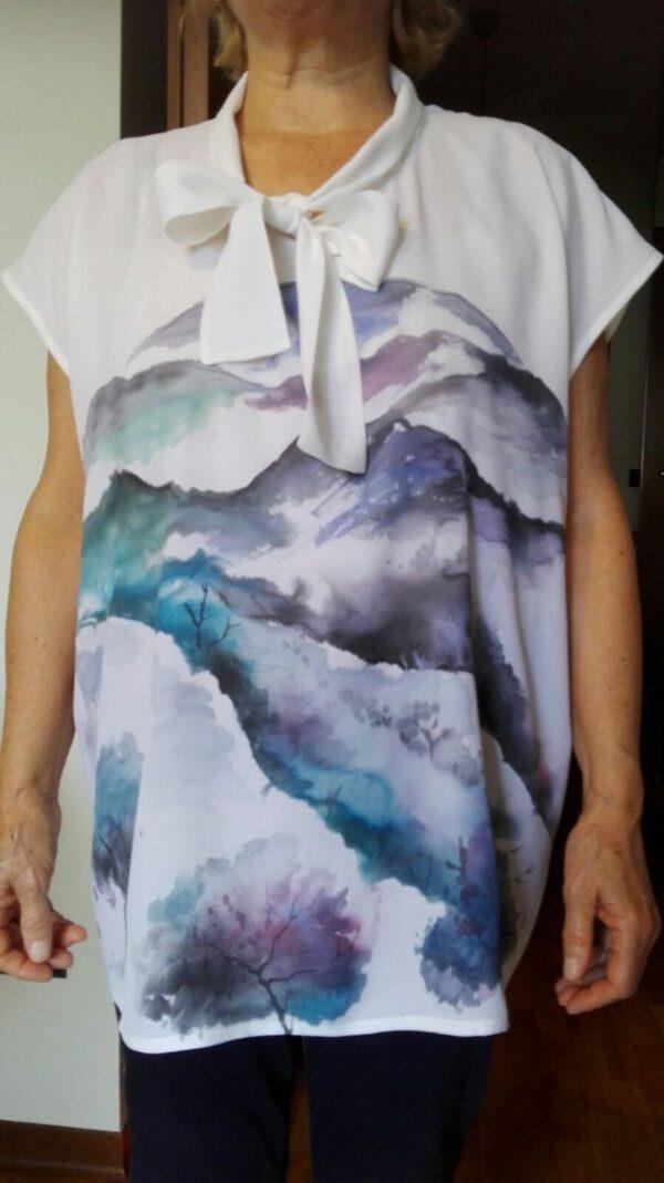 Mountain landscape hand painted 100% silk shirt