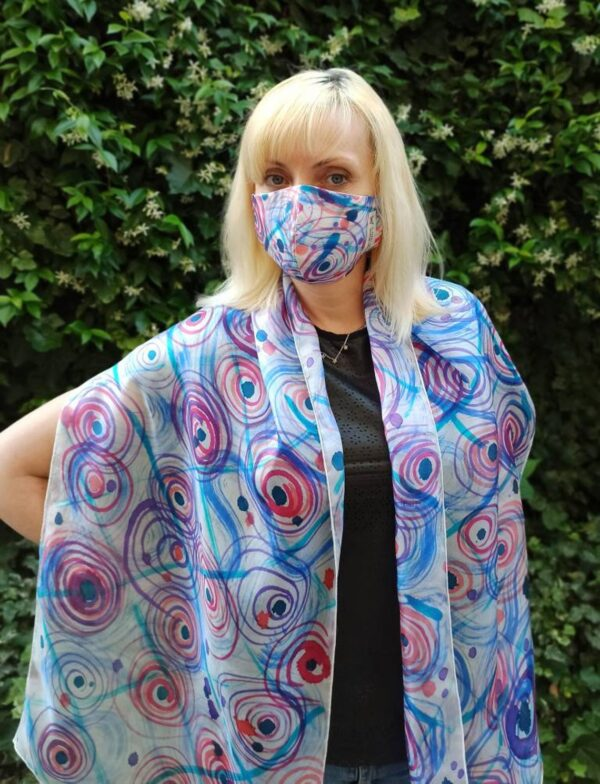 Colourful circles 100% silk hand painted scarf