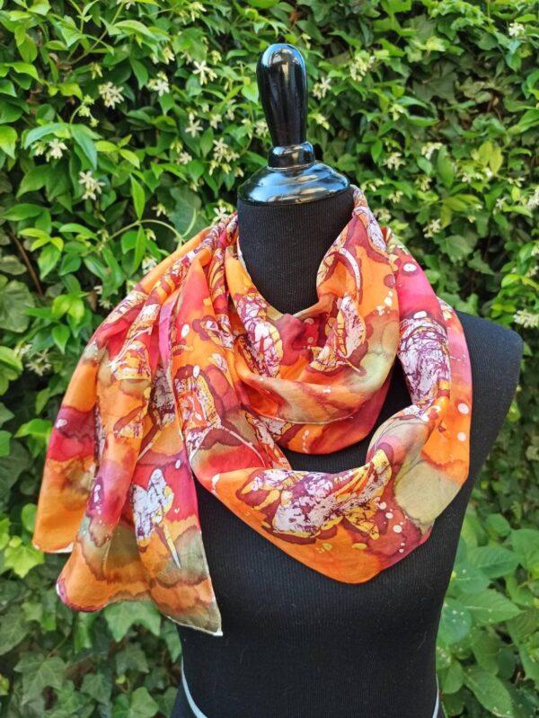 Desert flowers hand painted batik 100% silk scarf. Floral design