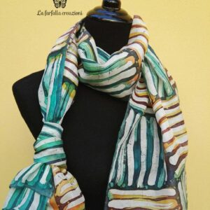 Tribal. Hand painted 100% silk scarf with ethnic design. Original gift for women.