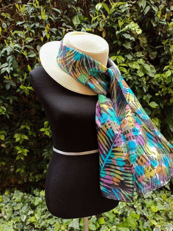 Tropical rain Hand painted long silk scarf batik. Best gift for mom or friend. Original colorful accessory.