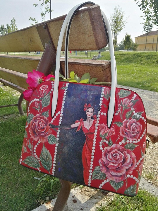 Red roses Lady hand painted bag