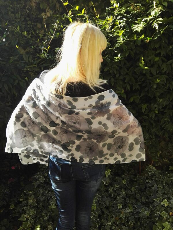 Black and white abstract floral hand painted silk scarf