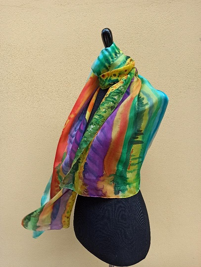 Tuscuny landscape hand painted silk scarf