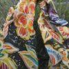 Big flowers Hand painted 100% silk scarf.