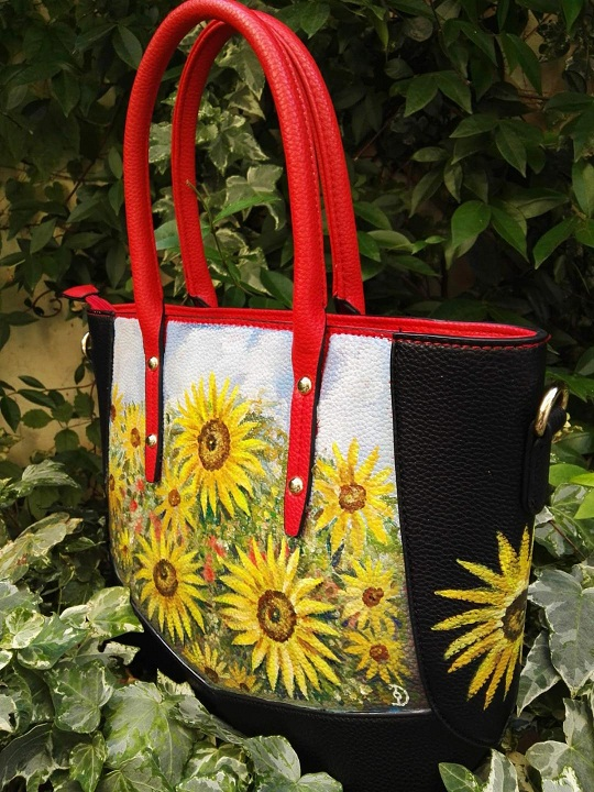 Sunflowers field hand painted faux leather bag