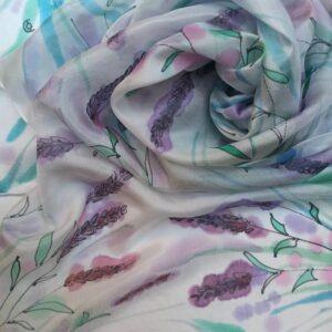 Lavender Hand painting 100% silk summer scarf in delicate colours. Original accessory to wear as headband, scarf, shawl.