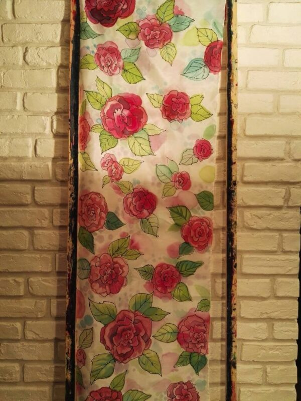 Red roses 100% silk hand painted scarf