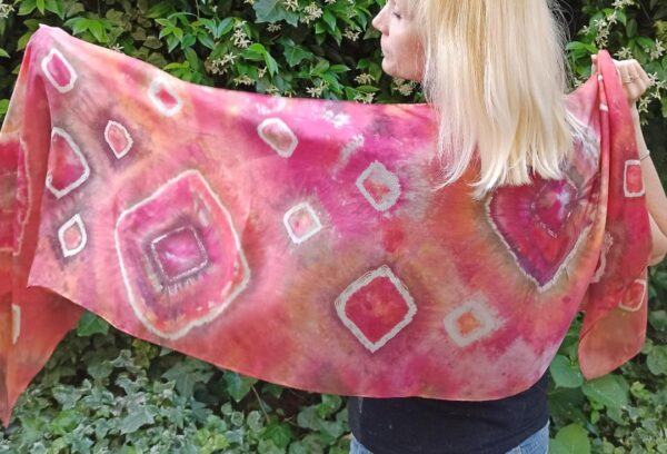 Red shibori hand dyed 100% silk scarf. Colorful accessory for casual o modern outfit
